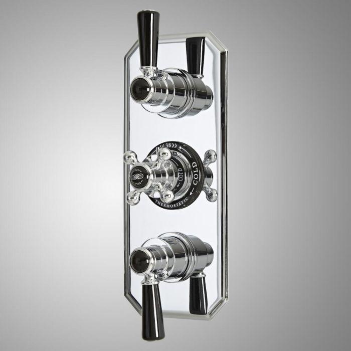 Retro Unterputz-Thermostat mit Umsteller, für 3 Verbraucher - Chrom/Schwarz - Elizabeth