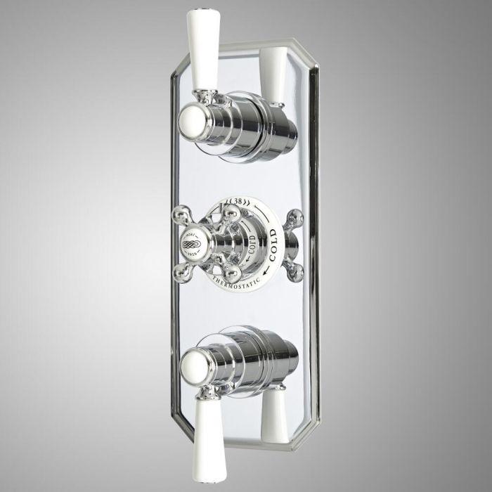Retro 3-Wege Unterputz Duschventil mit Umleiter, Chrom/Weiß - Elizabeth