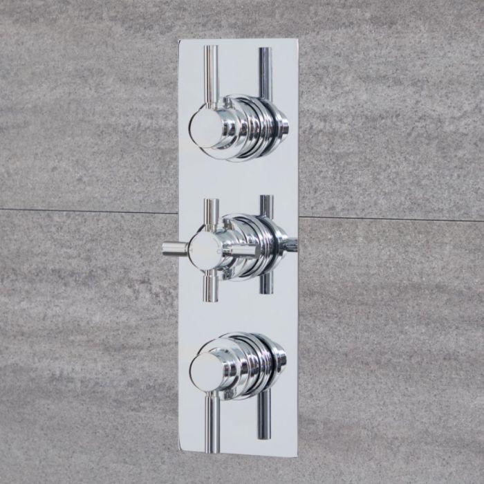 2-Wege Runde Thermostat-Duscharmatur Chrom - Tec