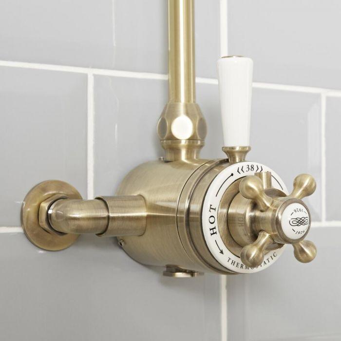 Retro Aufputz-Thermostat für 1 Verbraucher - Gebürstetes Gold - Elizabeth