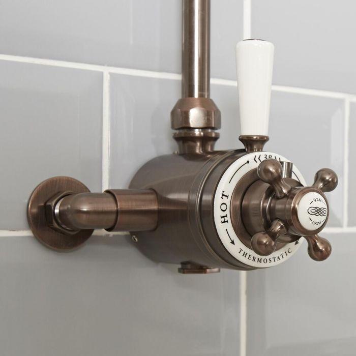 Traditionelles 1-Weg Aufputz Duschthermostat, geölte Bronze - Elizabeth