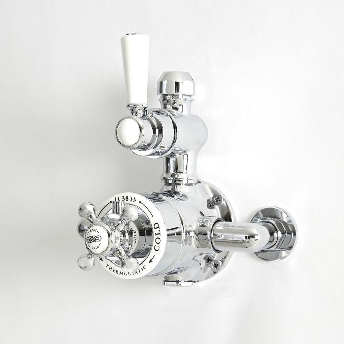 Retro Aufputz-Thermostat für 1 Verbraucher - Chrom/Weiß - Elizabeth
