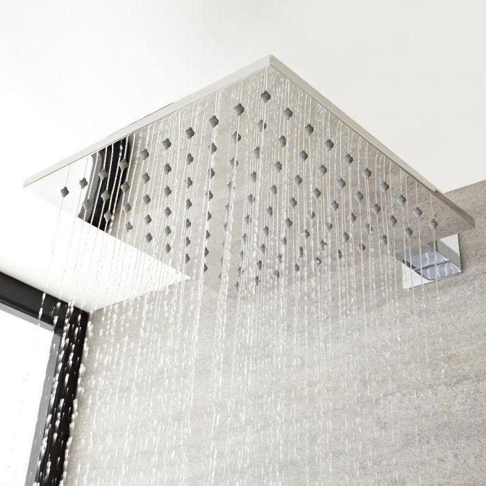 Duschkopf 400mm x 400mm aus Edelstahl ohne Duscharm - Kubix