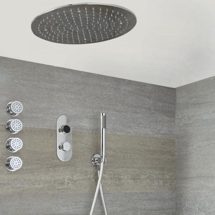 Digitale 3-Wege Dusche inkl. rundem Unterputzduschkopf zur Deckenmontage, Körperdüsen & Brause - Narus