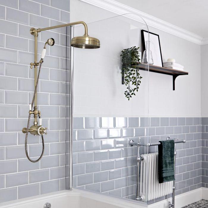 Duschsäule mit Aufputz-Thermostat - inkl. Handbrauseset und 194mm rundem Duschkopf - Gebürstetes Gold – Elizabeth