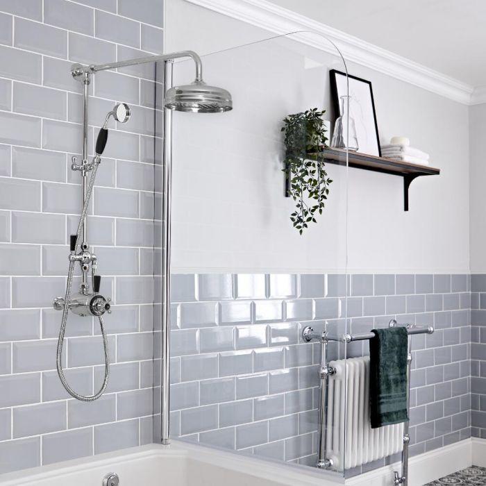 Duschsäule mit Aufputz-Thermostat - inkl. Handbrauseset und 194mm rundem Duschkopf - Chrom/Schwarz - Elizabeth