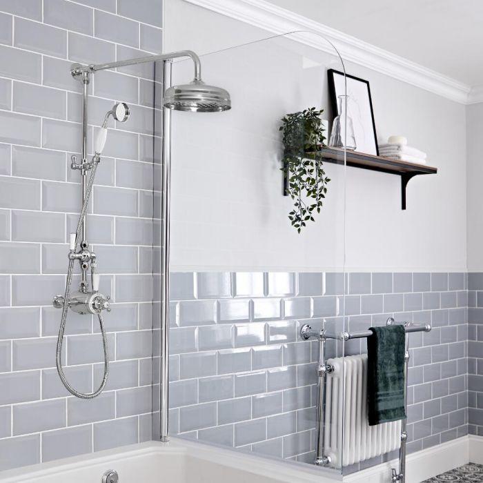 Retro Duschsäule mit Aufputz-Thermostat, Chrom/Weiß - Elizabeth