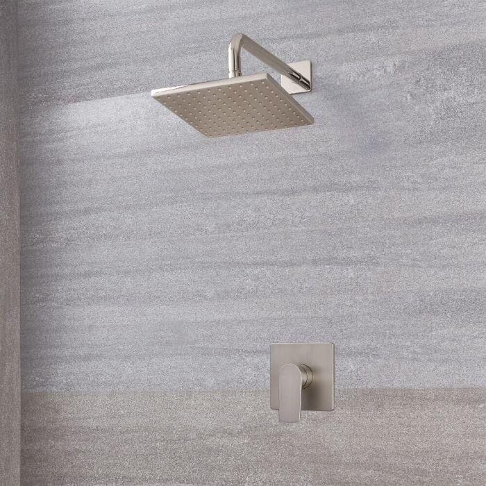 Harting Einhebel-Duscharmatur mit 200mm quadratischem Kopf - Gebürstetes Nickel