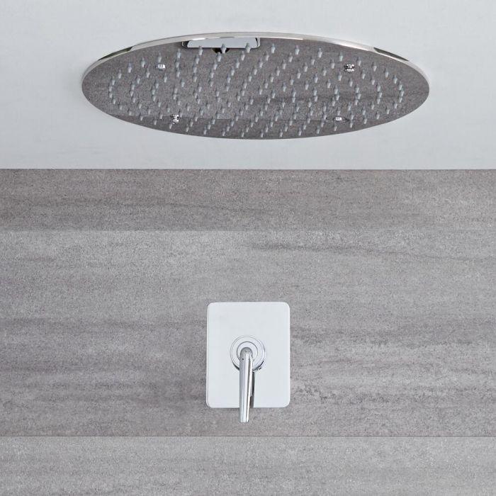 Ora - Einhebel Unterputz Duscharmatur mit 400mm rundem Unterputz Duschkopf - Chrom