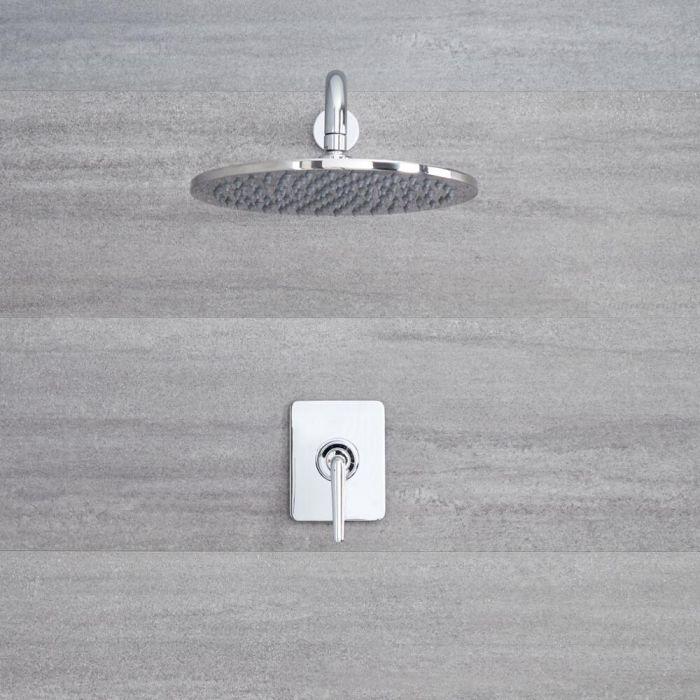 Ora - Einhebel Unterputz Duscharmatur mit 300mm rundem Duschkopf & Arm - Chrom
