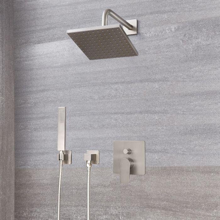 Harting Einhebel-Duscharmatur mit Umschalter, 200mm x 200mm quadratischer Kopf und Handbrause - Gebürstetes Nickel