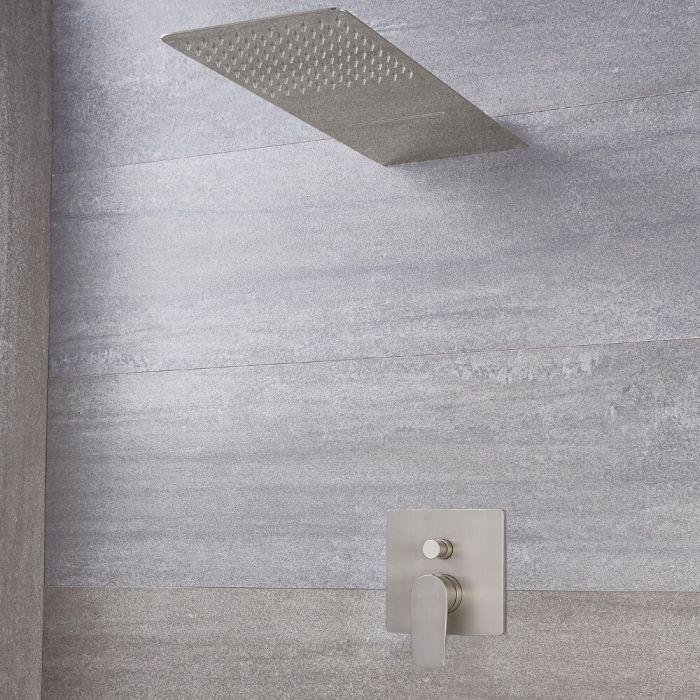Harting Einhebel-Duscharmatur mit Umschalter und Wasserfall-Regen-Duschkopf - Gebürstetes Nickel