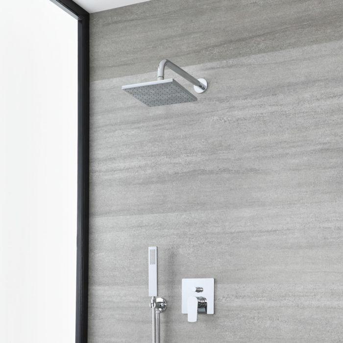 Unterputz-Duschsystem mit Umsteller - mit 200mm x 200mm Duschkopf und Handbrauseset – Chrom – Arcadia
