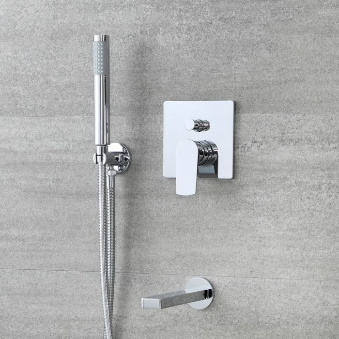 Unterputz-Dusch- und Badesystem mit Umsteller - mit Handbrauseset und Wanneneinlauf – Chrom – Arcadia
