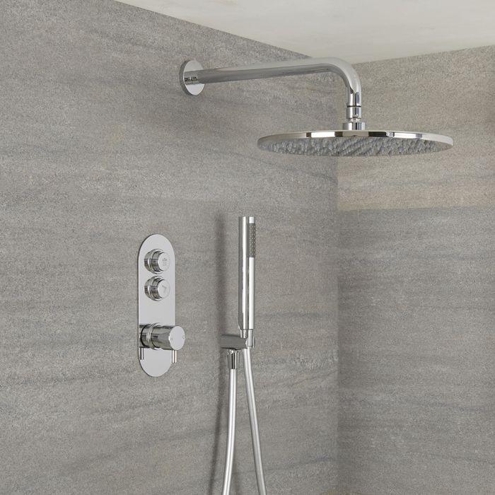 Duscharmatur mit Drucktasten 2 Funktionen, inkl. Handbrause und 300mm Regenduschkopf - Idro