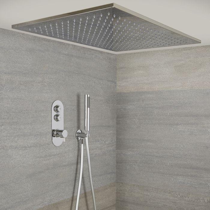 Unterputz-Duschsystem mit Thermostat und Drucktasten – mit 800mm x 500mm Duschkopf (Deckenmontage) und Handbrauseset – Chrom – Idro