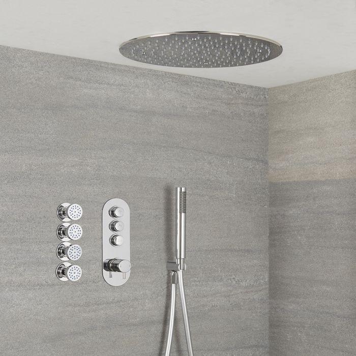 Duscharmatur mit Drucktasten 3 Funktionen, inkl. Handbrause, Unterputzduschkopf Rund und Körperdüsen - Idro