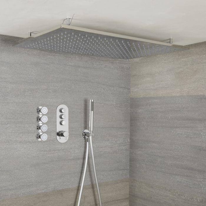 Duscharmatur mit Drucktasten 3 Funktionen, inkl. Handbrause, Decken-Duschkopf und Körperdüsen - Idro