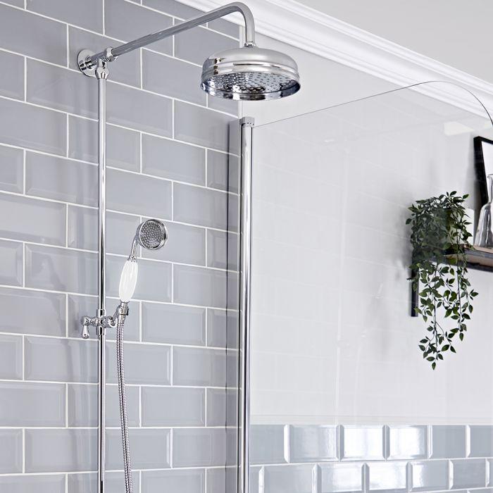 Retro-Duschsäule, ohne Armatur - inkl. rundem 194mm Duschkopf und Handbrause – Chrom/Weiß – Elizabeth
