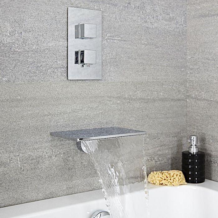 Unterputz-Badewannenarmatur mit Thermostat, Wandmontage – mit Wasserfall-Wanneneinlauf – Chrom - Blade