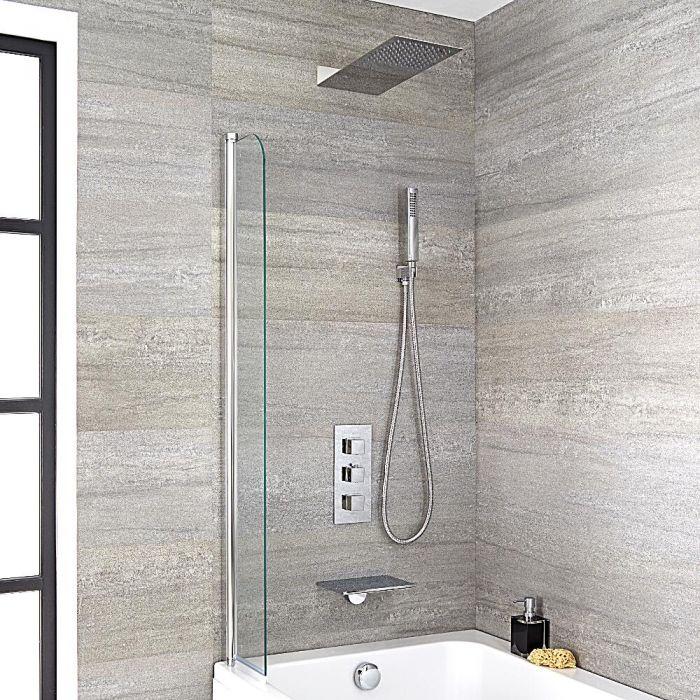 Badewannenarmatur mit Wasserfallauslauf, Duschkopf & eckiger Handbrause - Kubix