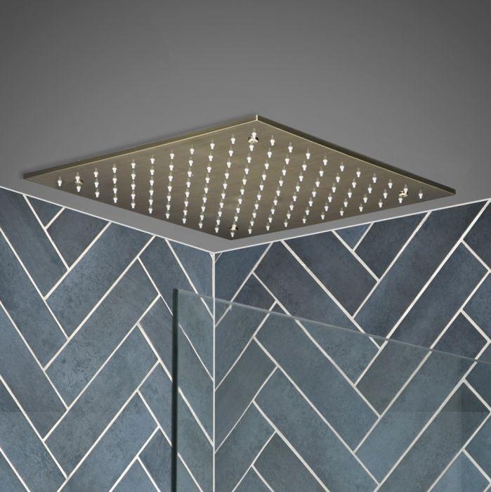 Quadratische 400mm Unterputz-Kopfbrause zur Deckenmontage, Gebürstetes Gold - Clarus