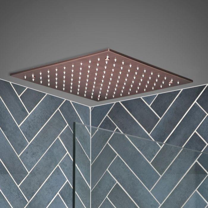 Quadratische 400mm Unterputz-Kopfbrause zur Deckenmontage, Gebürstetes Kupfer - Amara