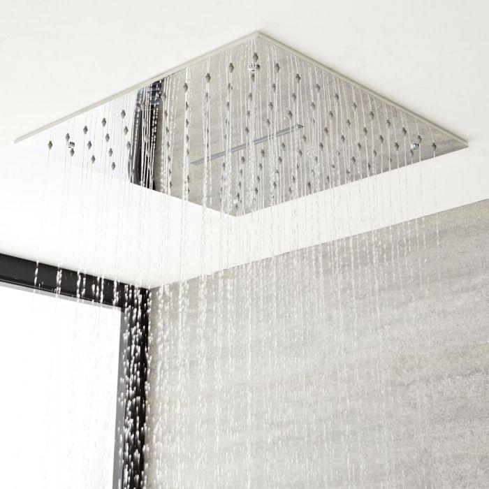 Regen-Duschkopf Edelstahl mit Wasserfall Unterputz 400x400mm Chrom - Kubix
