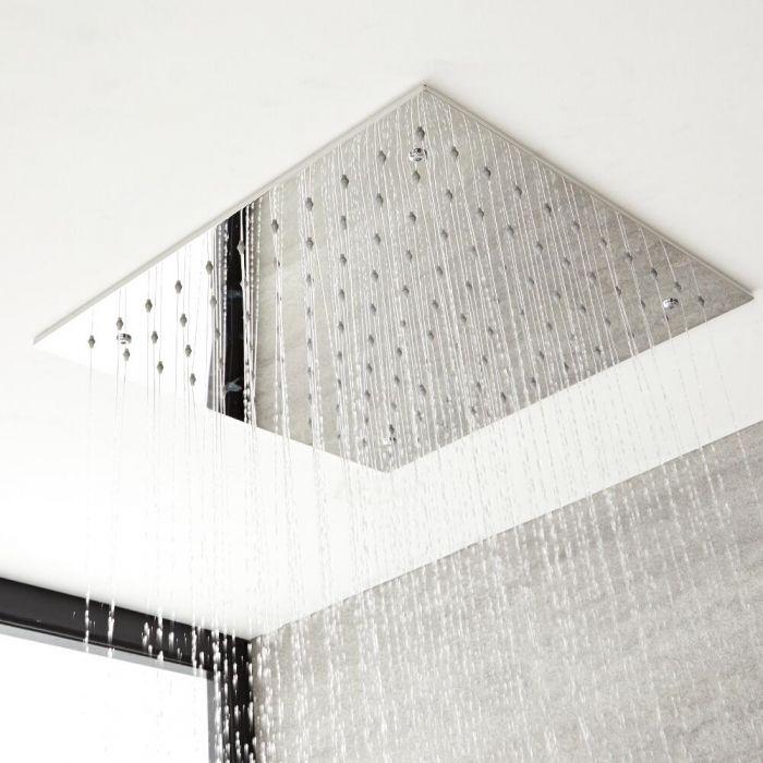 Regen-Duschkopf Edelstahl Unterputz Quadratisch 500x500mm Chrom - Kubix