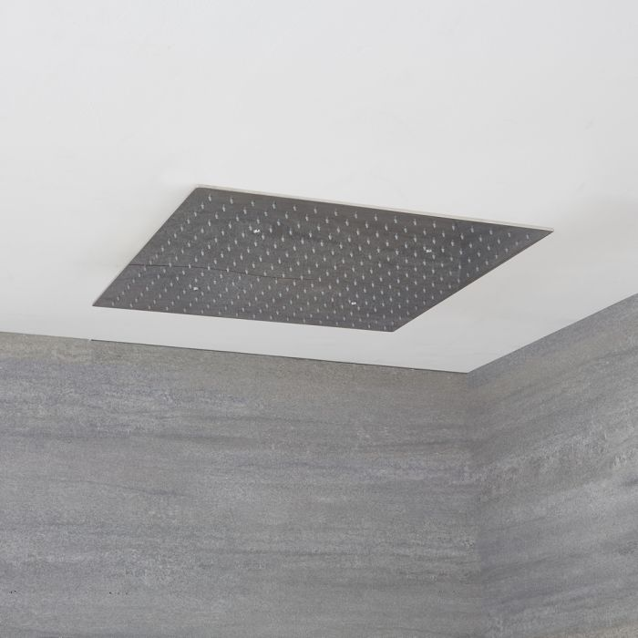 XXL Regenduschkopf Edelstahl Unterputz Quadratisch 600x600mm Chrom - Kubix