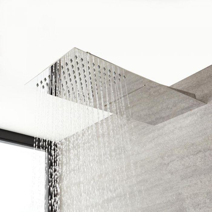 Duschkopf Edelstahl Wandmontage mit 2 Funktionen 200mm x 500mm - Kubix
