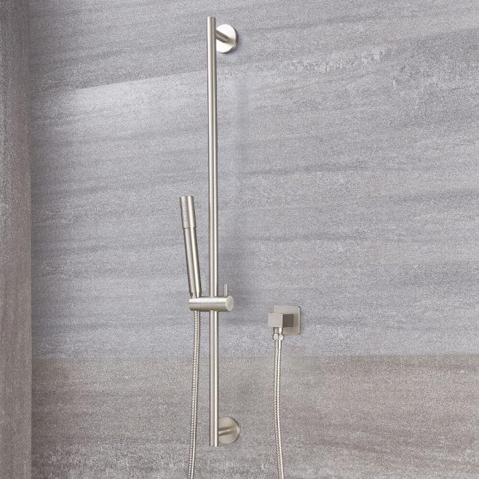 Duschstange mit runder Brause - Gebürstetes Nickel