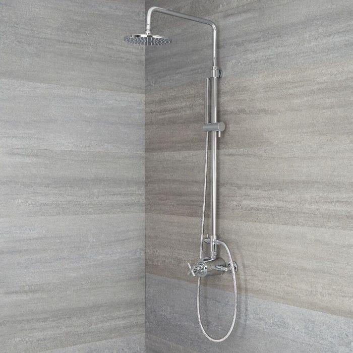 Moderne Duschsäule mit Thermostat - mit 2-Wege Umstellung, Handbrause und 200mm rundem Duschkopf - Chrom - Tec