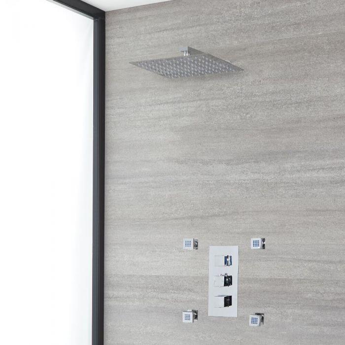 Eckiges Dusch-Thermostat mit 300x300mm Duschkopf und Massagedüsen, Chrom - Kubix