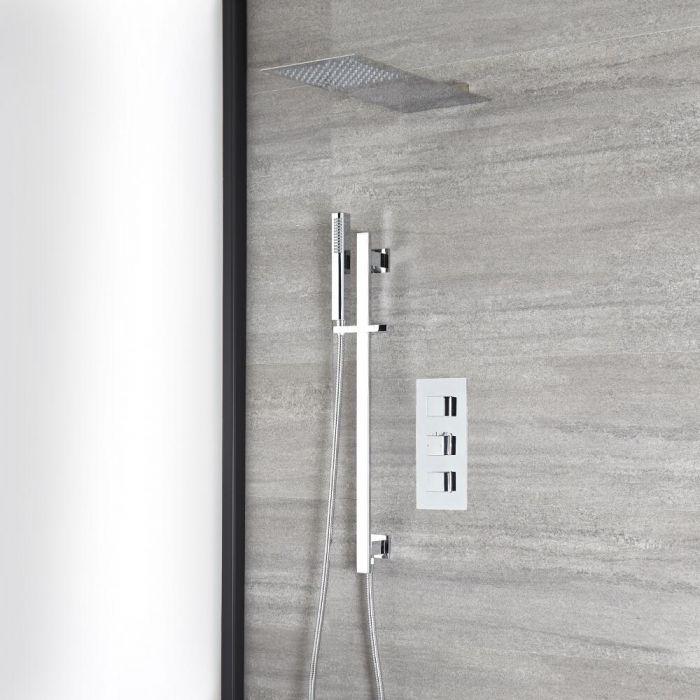 Eckiges Dusch-Thermostat mit flachem Wand-Duschkopf und Brausestangenset, Chrom - Kubix