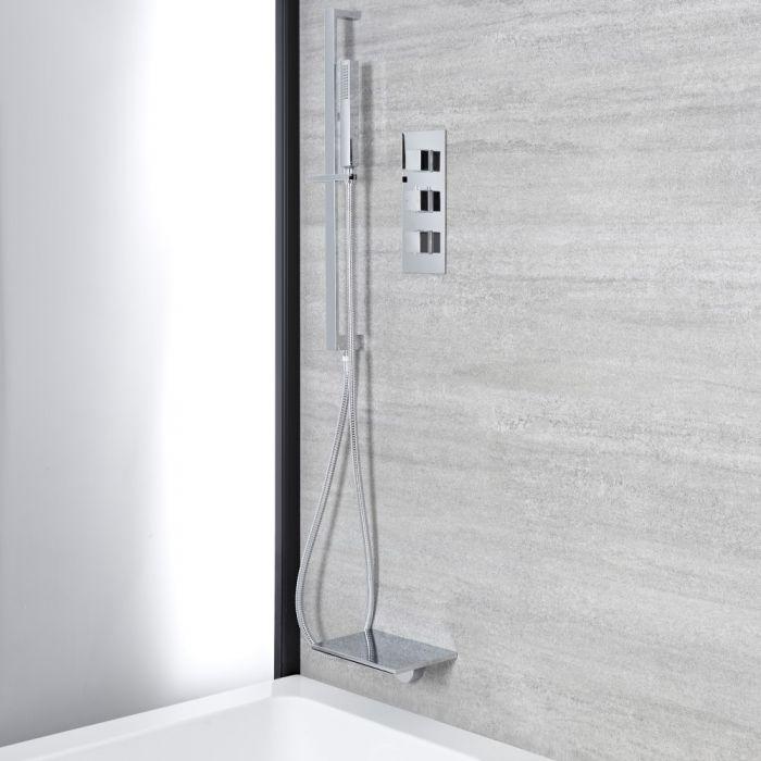 Eckiges Dusch- und Badesystem mit Thermostat - mit Brausestangenset und Wasserfall-Wanneneinlauf - Chrom - Kubix