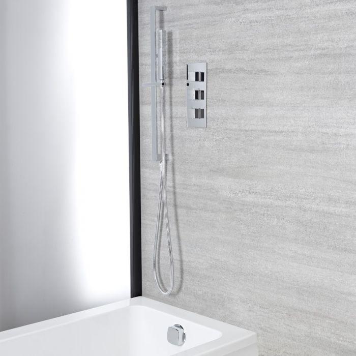 Eckiges Dusch-Wannen-Thermostat mit Brausestangenset und Überlauf-Wanneneinlauf, Chrom - Kubix