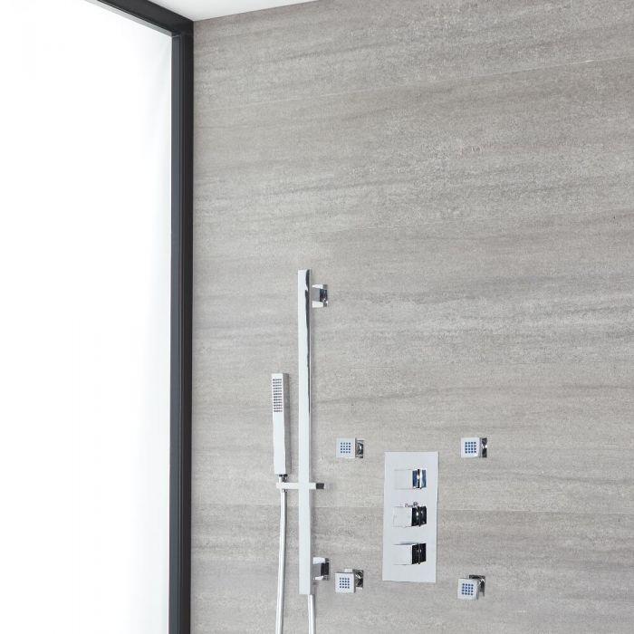 Eckiges Dusch-Thermostat mit Brausestangenset und Massagedüsen, Chrom - Kubix