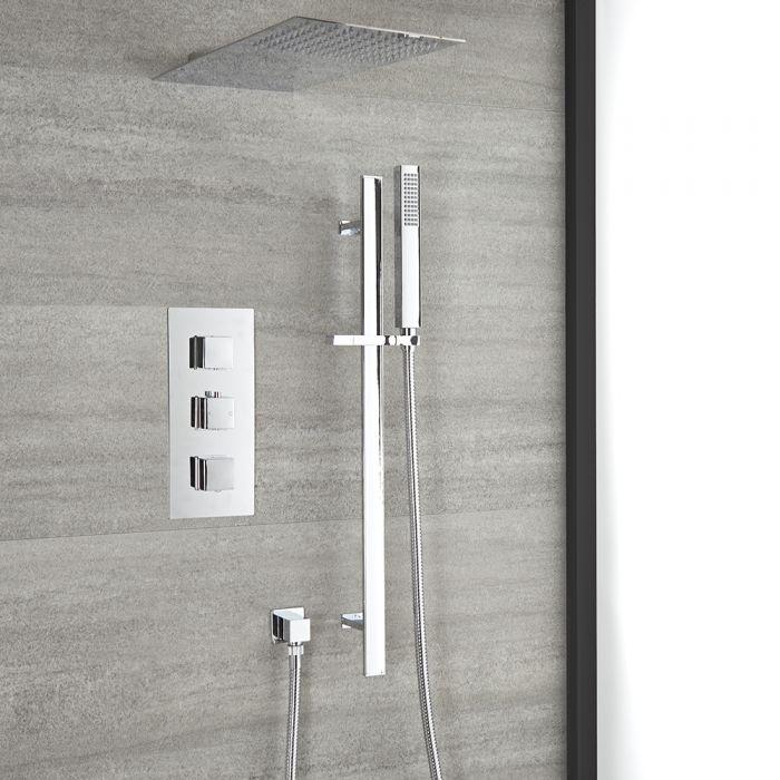 Unterputz-Duschsystem mit Thermostat – mit Wand-Duschkopf und Brausestangenset – Chrom – Kubix