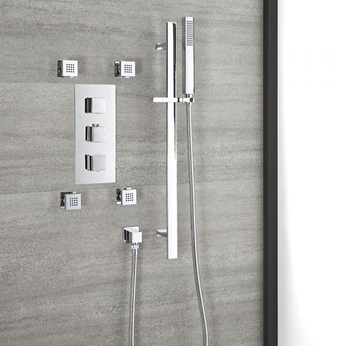 Unterputz-Duschsystem mit Thermostat – mit Brausestangenset und Körperdüsen – Chrom – Kubix