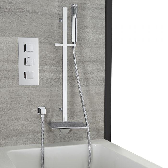 Dusch- und Badesystem mit Unterputz-Thermostat – mit Wasserfall-Wanneneinlauf und Brausestangenset – Chrom – Kubix