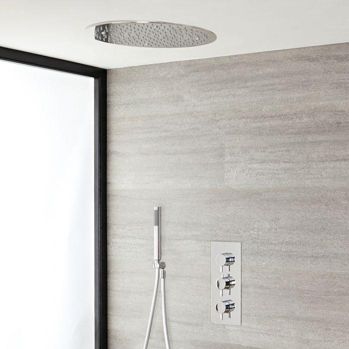 Duschsystem mit Thermostat – mit 400mm rundem Unterputz-Duschkopf und Handbrauseset - Chrom – Como
