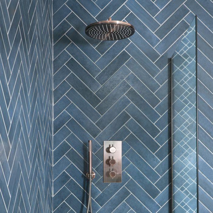 Thermostatische Dusche inkl. Duschkopf und Handbrause, Gebürstetes Kupfer - Amara