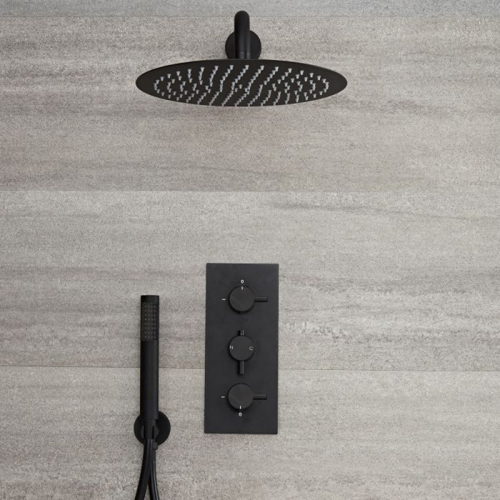 Unterputz Duschsystem mit Thermostat - mit 300mm rundem Wand-Duschkopf und Handbrauseset - Schwarz - Nox