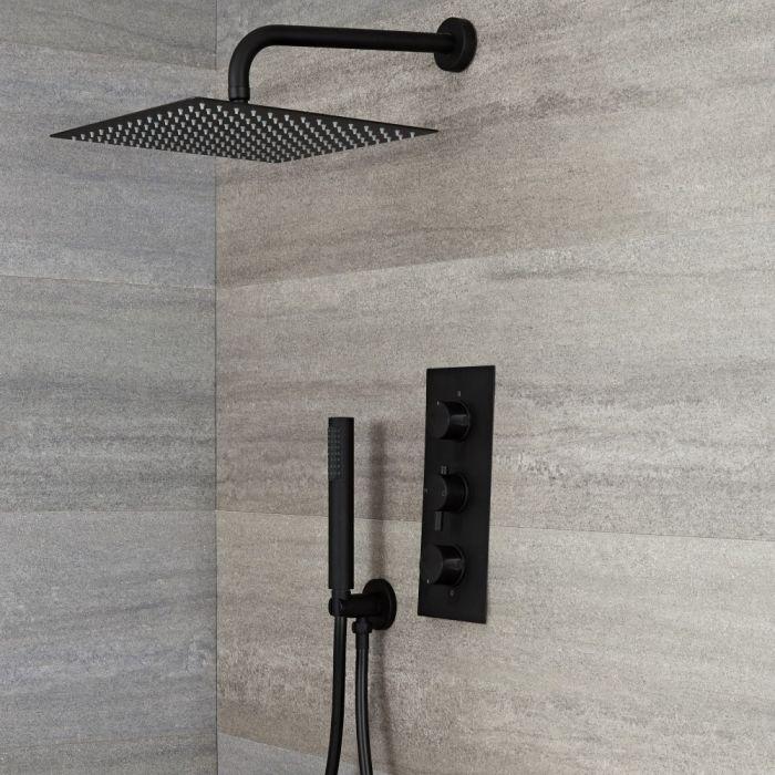 Unterputz Duschsystem mit Thermostat - mit 300x300mm Wand-Duschkopf und Handbrauseset - Schwarz - Nox