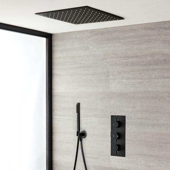 Unterputz-Duschsystem mit Thermostat - mit 400mm x 400mm Unterputz-Duschkopf und Handbrauseset - Schwarz – Nox