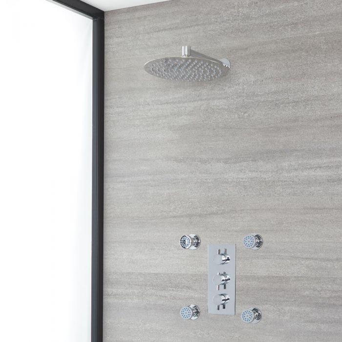 Rundes Dusch-Thermostat mit 300mm Duschkopf und Massagedüsen, Chrom - Como