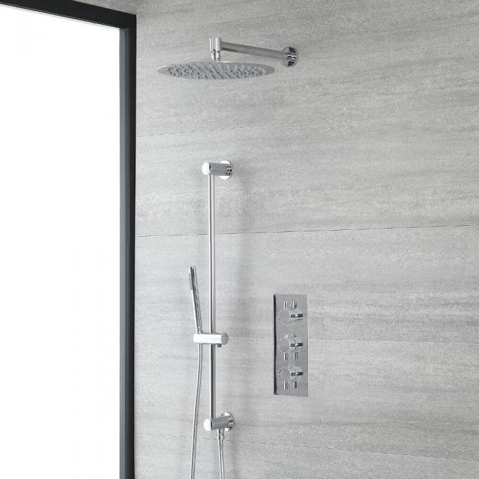 Rundes Dusch-Thermostat mit 300mm Duschkopf und Brausestangenset, Chrom - Como