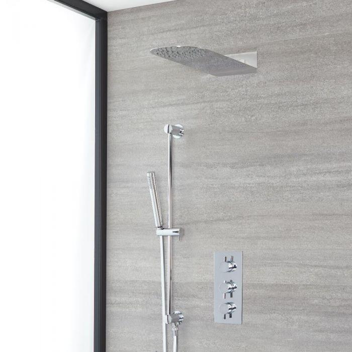 Rundes Dusch-Thermostat mit schmalem Duschkopf und Brausestangenset, Chrom - Como