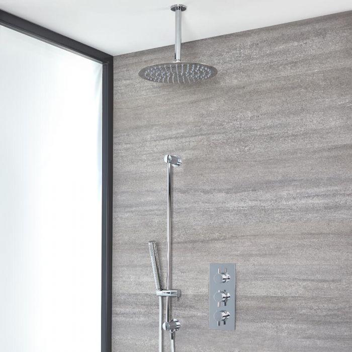 Rundes Dusch-Thermostat mit 300mm Duschkopf mit Deckenarm und Brausestangenset, Chrom - Como